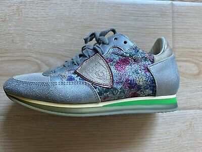 RARE Philippe Model TRPX Floral Mixage Sneakers Silver Size 36 6 Italy $440