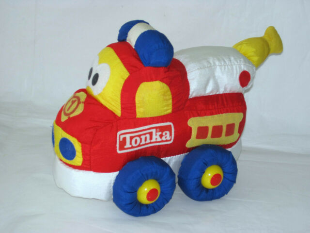 "VINTAGE 1993 TONKA SOFT WALKIN' WHEELS FIRE TRUCK MOVES SQUEAKER PLUSH TOY 11"""