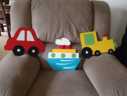3 X WOODEN WALL HANGINGS FOR BOYS Adamstown Newcastle Area Preview