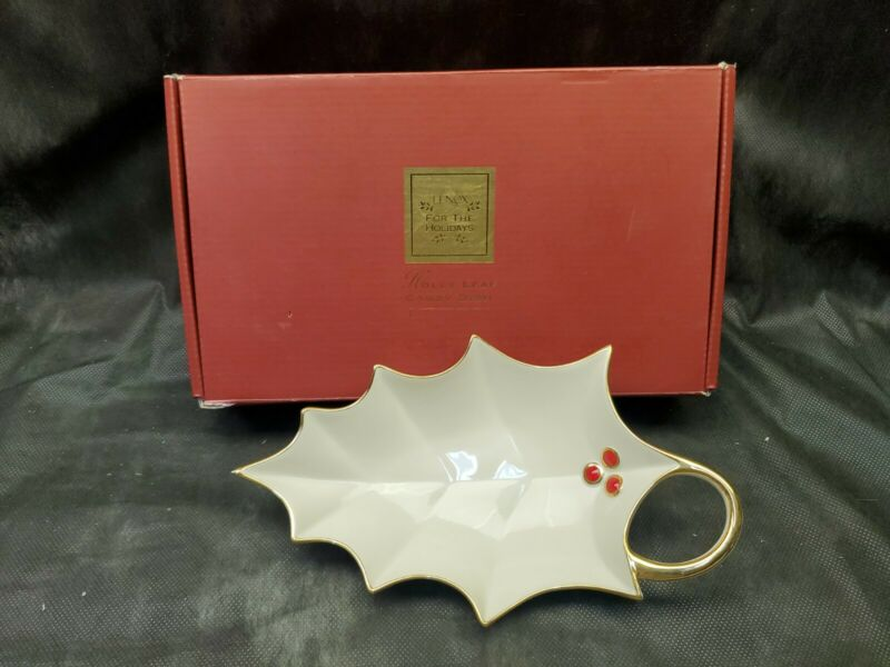 Lenox Holly Leaf Candy Dish Christmas Ivory  Gold Accent