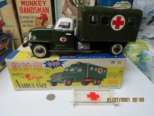 AMBULANCE TIN FRICTION NEAR MINT IN BOX 1950