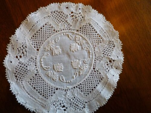 8 Antique Embroidered Monogram Flanders Lace Coasters Cocktail Napkins