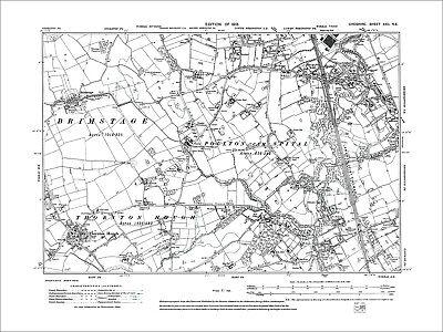 Bromborough (W),Spital, Brimstage, old map Cheshire 1913: 22NE