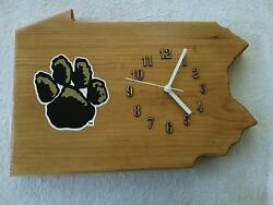 Pittsburg Panthers solid wood wall clock with team logo 16 X 12 X 1.5 inches