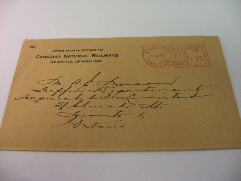 Rare Vintage 1955 Canadian National Railways to Imperial Oil Limited Envelope