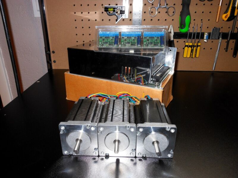 Gecko G251X 3 Drivers & 48v 12.5a Power Supply & 3 600oz in Dual Shaft Steppers