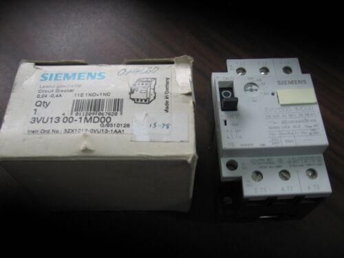 New Siemens 3VU1300-1MD00 Manual Starter (.24 to .4 Amp)