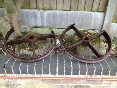 Vintage Iron Wheels Garden Planters X 2 Large Heavy Broken Old Salvage Feature