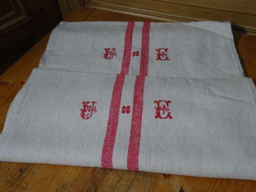 Antique European Feed Sack UE Monogram # 9643