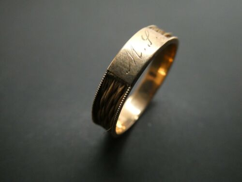 Victorian Edwardian 14KT Gold  Engraved MP Cartouche Hair Mourning Ring 9