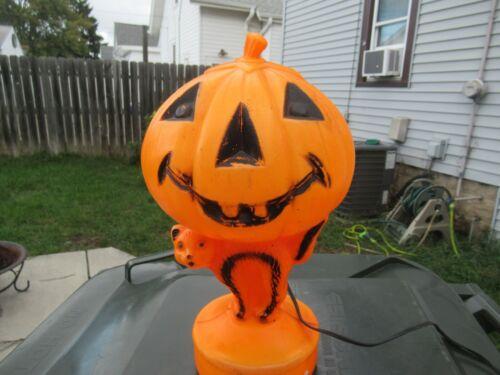 Blowmold Black Cat with Jack-o-Lantern Pumpkin 14 inches vintage Halloween