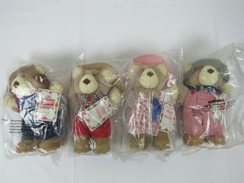Vintage Wendys 1986 Happy Holiday Furskins Bear Set Of 4 New in Bag Plush Animal