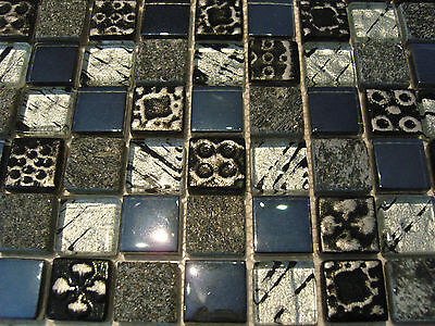 glasmosaik mosaik fliesen perlmutt ornament schwarz silber grau effekt afrika ebay. Black Bedroom Furniture Sets. Home Design Ideas
