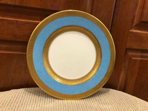 """Vintage Blue Rim, Ornate Gold Encrusted Bands CROWN STAFFORDSHIRE  10.5"""" Plate"""