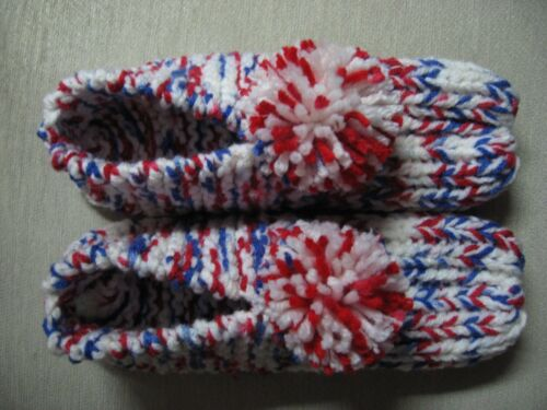 """Hand Knit Red White & Blue Slippers Wms Ladies Sm Mans XX Sm 8 1/4"""" Free Ship"""