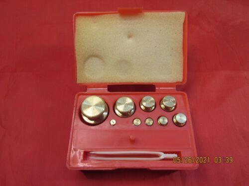 9Pc. Brass Calibration Weight Set 1g-210g 1g, 2g (x 2) ,5g,10g,20g(x 2),50g,100g