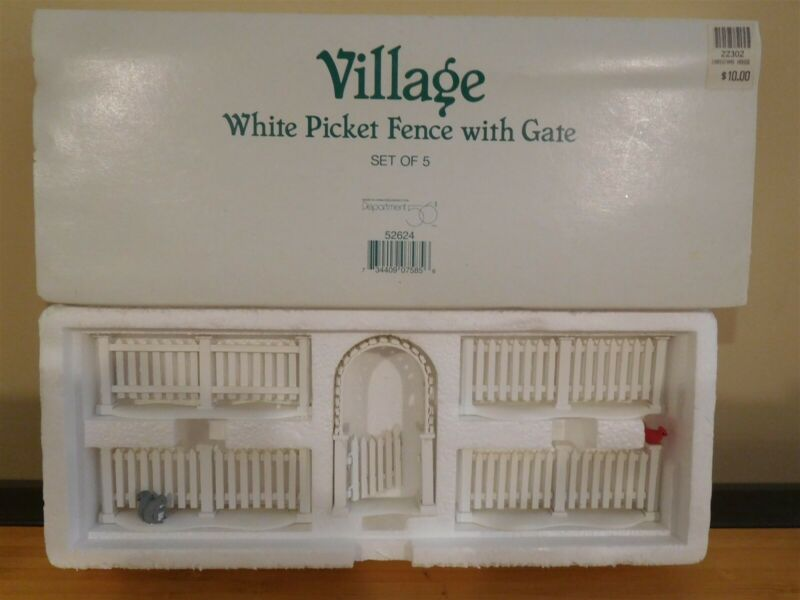 Dept 56 Village Accessory - White Picket Fence w/ Gate - 5 Pc Set - Free Ship