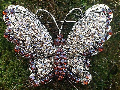 Topaz Vintage Butterfly Brooch Pin Rhinestone Rhinestones Gold Tone Glass Vtg