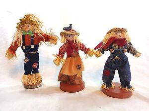 "SCARECROW FIGURINE Lot of 3 Wood Straw 8"" Fall Halloween Decor"