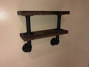 Chunky Rustic Pipe & Rough Cut Wood Shelving