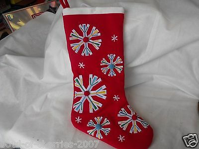 Christmas Stocking Red Felt with Felt Snowflakes & Pom-Poms, New, no Tags