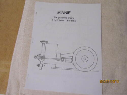 Minnie Small Gas Engine Blueprints Plans, Hit and Miss model. No Castings Needed