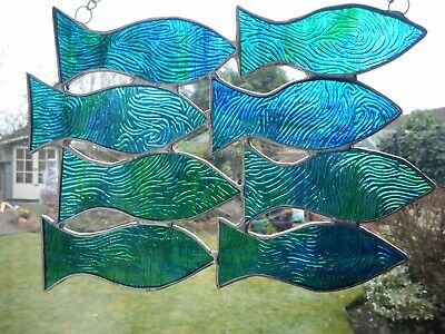 Stained Glass Fish (Stained Glass Shoal of Fish Suncatcher or Wall Mount. )
