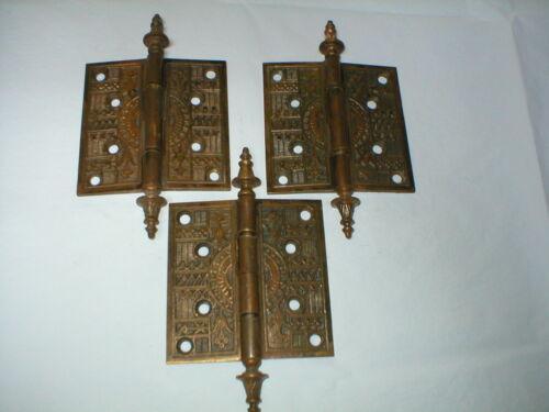 """Three Antique Victorian Decorative Bronze 4 1/2"""" Door Hinges"""