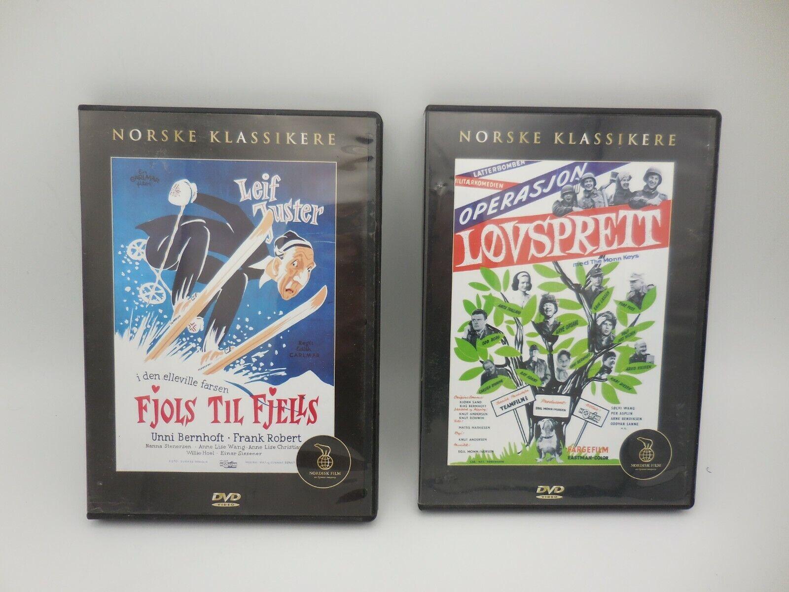2 DVD Norske Klassikere Operasjon Lovsprett And Fjols Til Fjells Nordisk Film - $9.99