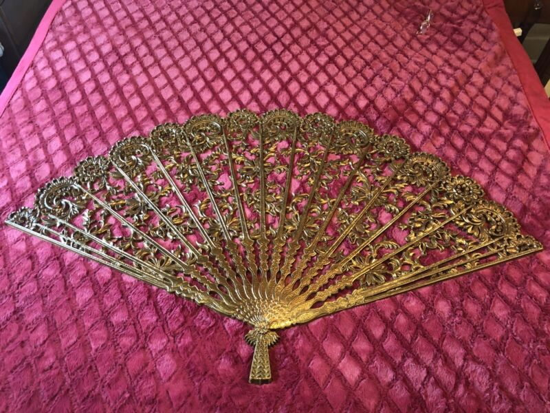 Vtg LG Burwood #4402 Antique Gold Wall Hanging Fan Decoration Hollywood Regency