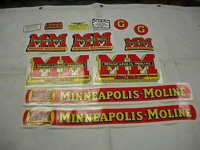Minneapolis Moline Model G Tractor Decal Set - New