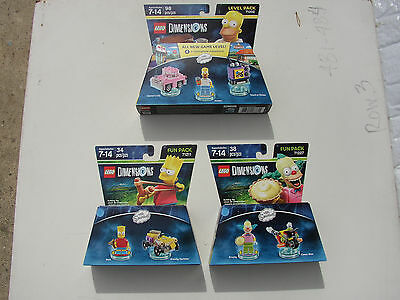 LEGO DIMENSIONS LOT COLLECTION 3 NEW FACTORY SEALED SIMPSONS LEVEL & FUN PACKS!