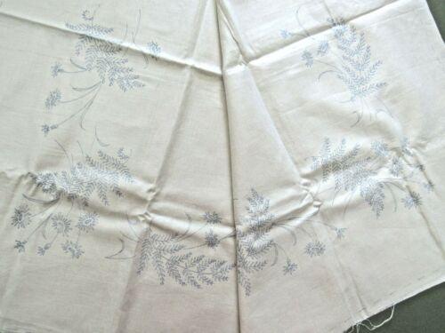Vtg Vogart Stamped Linen Tablecloth TO EMBROIDER Fern & Floral Design on Linen
