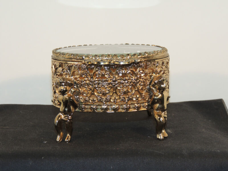 Victorian Filigree and Cherub Oval shaped with Beveled Glass Jewelry Case (5611)