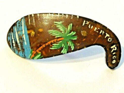 PUERTO RICO ~ VINTAGE HANDMADE AND PAINTED GORD TYPE PIN