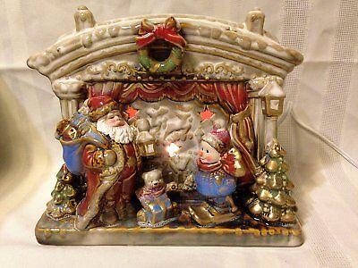 Vintage Lighted Christmas Santa & Snowman Working Fireplace Scene Porcelain Lamp