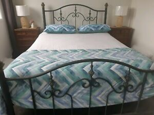 Cast iron queen bed head and base