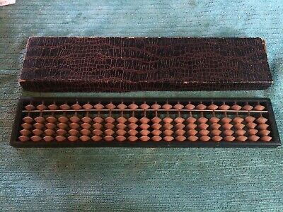 Vintage SUN Wooden Abacus 21 Rods 105 Beads Japan Box