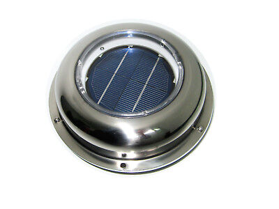 Solar Fan Vent Attic Rv Caravan Boat Roof Wall Stainless Steel Air Ventilation