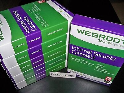 Webroot Internet Security Complete 2018 5 Devices 1 Year New Sealed