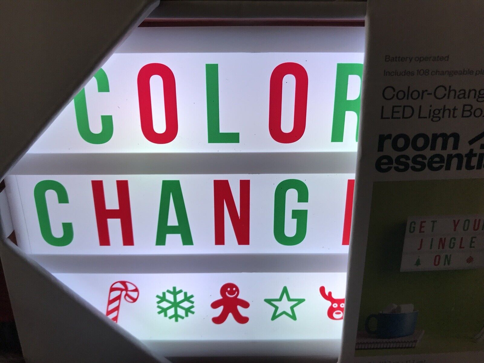 Room Essentials DIY Color Changing LED Light Box Holiday Whi