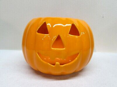 Orange Pumpkin Jack O Lantern Ceramic Halloween Decor