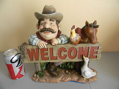 Welcome Sign Jolly Cowboy/Farmer/Rancher w/Animal Friends