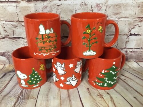 5 Vintage Waechtersbach Germany Christmas Snoopy, angels, and Tree Coffee Mugs