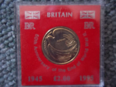 50th ANNIVERSARY OF THE END OF WORLD WAR TWO - £2 COIN IN CASE - UNC -