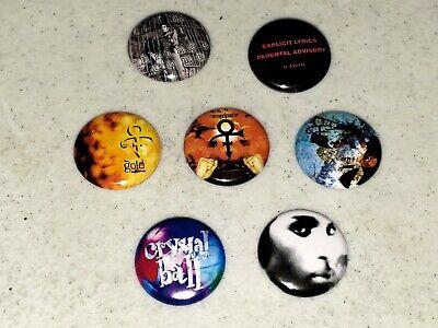 7 Prince Buttons Button 1 inch Pin Pins Mini LP Vinyl Replica Black Album LOT C
