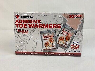 Yaktrax Adhesive Toe Warmers - 5 Hours Pure Heat - 10 Pairs - Safe - New  (G 44) Hour Adhesive Toe Warmers