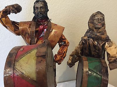 Vintage Mexican Folk Art Paper Mache Man Woman Senior Senorita Drumming Music