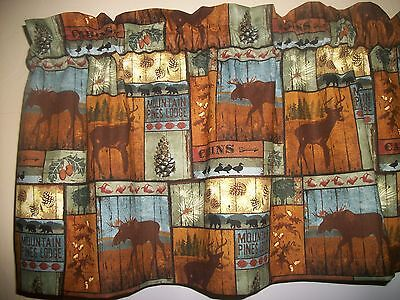 Cabin Lodge Camp Moose Black Bear Deer North Woods fabric curtain topper Valance for sale  Houtzdale