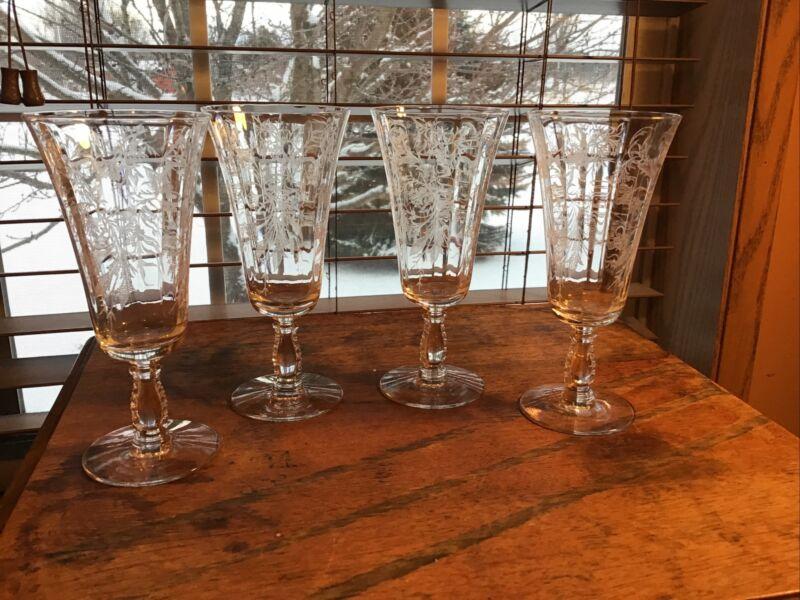 4 Vintage Fostoria Heather Parfait Wine Champagne Glasses 6 Oz